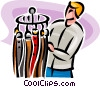 Vector Clip Art graphic  of a Man looking at belts