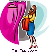 woman entering the changing booth Vector Clipart image
