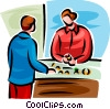 person talking to a jeweler looking at rings Vector Clip Art picture