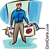 Vector Clip Art graphic  of a man holding lost of shopping