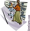 Woman in the grocery store Vector Clipart image