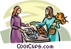 Vector Clipart illustration  of a woman buying produce at the
