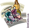 woman looking at baby strollers Vector Clipart image