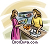 Vector Clipart illustration  of a woman buying shoes