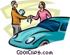 Vector Clipart graphic  of a woman getting the keys of her