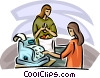 woman at the cash register of a grocery store Vector Clip Art image