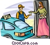 Woman paying the delivery man for a pizza Vector Clipart illustration