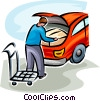 Vector Clipart image  of a man loading his car with a box