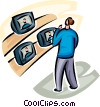 Vector Clip Art picture  of a man looking at a television