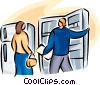 couple looking at buying a refrigerator Vector Clip Art graphic