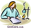 scientist/researcher with a Bunsen burner Vector Clip Art graphic