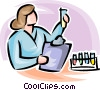 female scientist looking at a beaker Vector Clip Art graphic