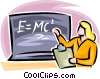 Vector Clipart graphic  of a teacher teaching science