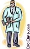 Vector Clipart graphic  of a doctor getting papers from a