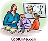 teacher with students looking through a microscope Vector Clipart illustration