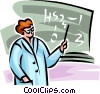 teacher teaching science Vector Clipart illustration
