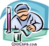 Vector Clip Art graphic  of a Scientist pouring liquid into