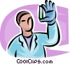 Vector Clip Art graphic  of a Scientist looking at a test