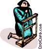 woman on her knees praying in Church Vector Clip Art picture