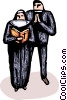 Priest praying with a Nun Vector Clipart illustration