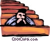 Vector Clip Art picture  of a man sitting in a pew praying