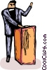 Vector Clip Art graphic  of a Priest standing at a pulpit