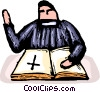 Vector Clipart illustration  of a Priest reading from the Bible