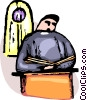 Priest reading from the Bible at the pulpit Vector Clip Art graphic