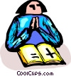 woman reading the Bible and praying Vector Clip Art image