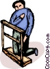 person on bended knee praying Vector Clip Art picture