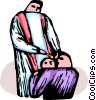 Vector Clipart graphic  of a Christian Baptismal ceremony