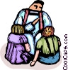 Minister talking to children of congregation Vector Clipart illustration