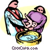 Vector Clip Art graphic  of a Minister Baptizing an infant