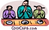 family saying Grace before a meal Vector Clipart picture