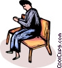 person sitting in a Pew praying Vector Clipart illustration