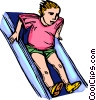 Vector Clip Art image  of a child sliding down a slide