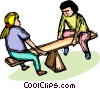 Vector Clip Art graphic  of a children playing on a