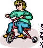 child on a tricycle Vector Clip Art graphic