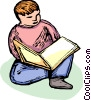 Boy reading a book Vector Clipart graphic