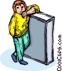 child standing Vector Clipart graphic
