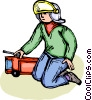 Vector Clipart illustration  of a boy playing with a fire truck