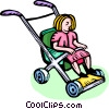 Vector Clipart picture  of a toddler in a stroller