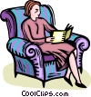 Vector Clip Art graphic  of a woman reading a book