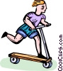 Vector Clipart graphic  of a boy on his scooter