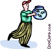 Vector Clipart graphic  of a boy carrying his goldfish tank