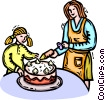 Vector Clip Art image  of a mother and daughter decorating cake