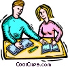 Vector Clipart image  of a students doing school work