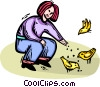 woman feeding the birds Vector Clipart illustration