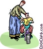 Vector Clipart picture  of a teaching his son how to ride a bike