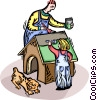 Father and son building a dog house Vector Clipart graphic